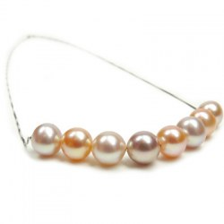 Collana con 8 perle d'acqua dolce su catenina passante in argento 925