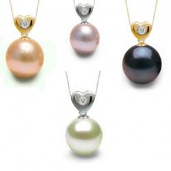Pendente Cuore in Oro 14k con Diamante e perla d'acqua dolce AAA