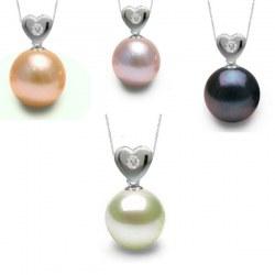 Pendente cuore in argento Diamante e Perla di Acqua Dolce AAA