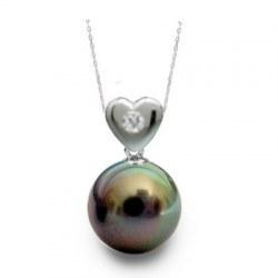 Pendente Cuore Argento 925 Diamante Perla Tahiti AAA