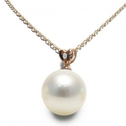 Pendente in oro rosa 18k diamante e perla Australiana bianca argentata AAA