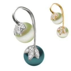 Pendente in oro 14k diamanti e 2 perle d'acqua dolce bianca/nera AAA