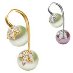 Pendente in oro 14k con diamanti e 2 perle d'acqua dolce AAA