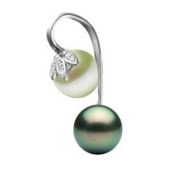 Pendente oro 14k Diamanti Perla Akoya bianca e Perla Tahiti nera