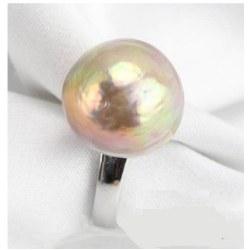 Anello Argento 925 Perla Acqua dolce 15,5 mm Lavanda metallica