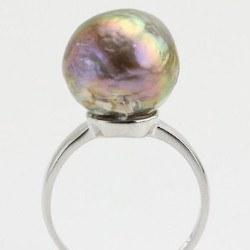 Anello Argento 925 Perla Acqua dolce 13,5 mm metallica multiriflesso
