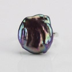 Anello Argento 925 con perla d'acqua dolce lustro metallico violaceo 17,5 mm