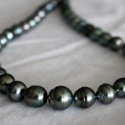 Collana 43 cm Perle di Tahiti cerchiate 11-14 mm verde bronzo