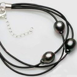 Bracciale 3 lacci di cuoio Argento 925 18-22 cm, 3 perle 9-10 mm Tahiti DROP AA+