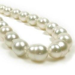 Collana 43/44 cm perle barocche Australiane bianche avorio, da 8,5 a 11 mm
