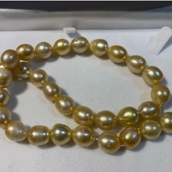 Collana di perle dorate Filippine barocche di forma a goccia
