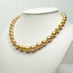 Collana 45 cm perle dorate barocche Filippine da 8,5 a 13 mm lustro qualità AA+