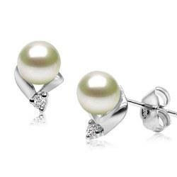 Orecchini in argento 925, zirconi e perle d'acqua dolce 6-7 mm AAA