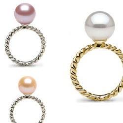Anello oro 18k con perla d'acqua dolce qualità DOLCEHADAMA
