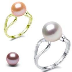Anello Oro 9k con perla d'acqua dolce 8-9 mm qualità DOLCEHADAMA