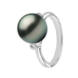 Anello Argento 925 diamanti e grande perla di Tahiti 9-10 mm