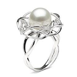 Anello in oro 18k con diamanti e perla australiana bianca 10-11 mm AAA