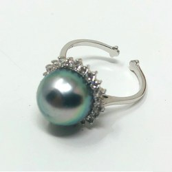 Anello in argento 925 e zirconi con perla di Tahiti 10 mm qualità AA+