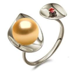 Anello Argento 925 perla dorata delle Filippine 9-10 mm AAA e tormalina rossa