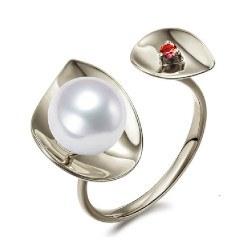 Anello Argento 925 con perla Akoya AAA e tormalina rossa