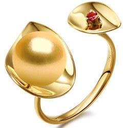 Anello Oro 18k perla dorata delle Filippine 9-10 mm AAA e tormalina rossa