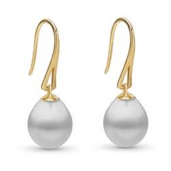 Orecchini in oro 18k con perle australiane bianche a goccia 10-11 mm AA+/AAA