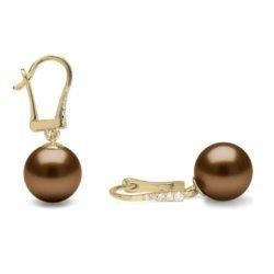 Orecchini in oro bianco 14k con diamanti e perle di Tahiti color Cioccolato 9-10 mm AA/AA+