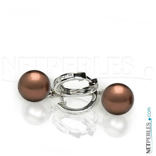 Orecchini oro 18k diamanti e perle di Tahiti Cioccolato 10-11 mm AAA