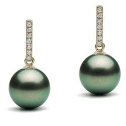 Orecchini Argento Zirconi e perle nere di Tahiti