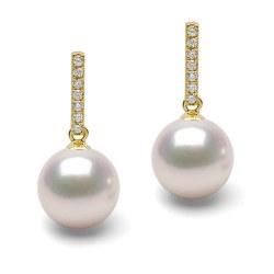 Orecchini oro 18k diamanti e perle Akoya HANADAMA