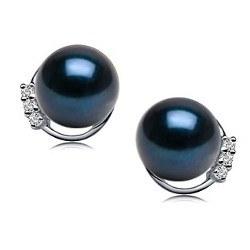 Paio di orecchini oro 18k diamanti e perle Akoya nere da 7,5 a 8 mm