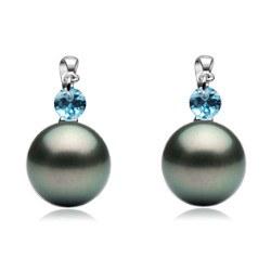Orecchini Oro 18k Cristallo blu e Perle di Tahiti AAA