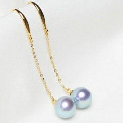 Paio di Orecchini perle Akoya blu 8-9 mm AAA su traversine in oro 18k