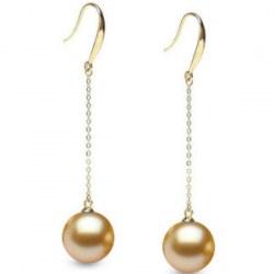 Orecchini oro 18k diamanti e perle delle Filippine dorate da 9-10 mm AAA