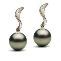 Orecchini Argento perle di Tahiti e due piccoli zirconi