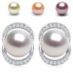 Orecchini in oro 18k perle d'acqua dolce DOLCEHADAMA 8-9 mm e diamanti