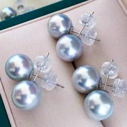 Orecchini oro giallo 18k e silicone con perle blu Akoya di qualità AAA