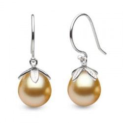 Orecchini in Argento 925 perle Filippine dorate a goccia 10-11 mm AAA