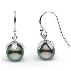 Orecchini Argento 925 e perle nere di Tahiti da 8-9 mm