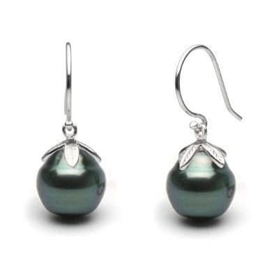 Orecchini Oro 14k e perle nere di Tahiti Barocche cerchiate 10-11 mm
