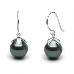 Orecchini Argento 925 e perle nere di Tahiti Barocche cerchiate 10-11 mm