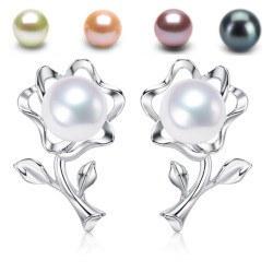 Orecchini Fiori Argento 925 perle d'acqua dolce 6-7 mm AAA