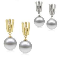 Orecchini in oro 9k diamanti e perle Akoya di qualità AAA