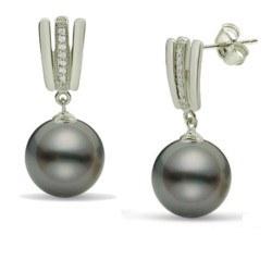 Orecchini Argento 925 Zirconi e Perle di Tahiti qualità AA+ o AAA