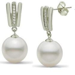 Orecchini in argento 925 zirconi e perle Akoya di qualità AAA
