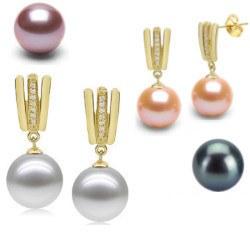Orecchini in oro 9k, diamanti e perle d'acqua dolce AAA