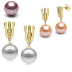 Orecchin oro 18k diamanti e Perle d'acqua dolce DOLCEHADAMA