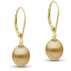 Orecchini in oro 18k con perle dellle filippine a goccia AAA