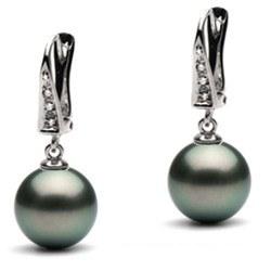Orecchini oro 14k diamanti con perle di Tahiti AA+ o AAA
