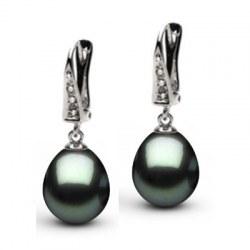 Orecchini Oro 14k Diamanti e perle di Tahiti a goccia AAA